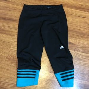Adidas Black and Teal Leggings